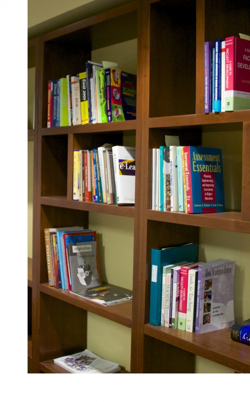 bookshelf with teaching books